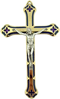 Gold Tone Crucifix 5 1/4 Inch Hanging Wall Cross with Blue Stained Glass Effect