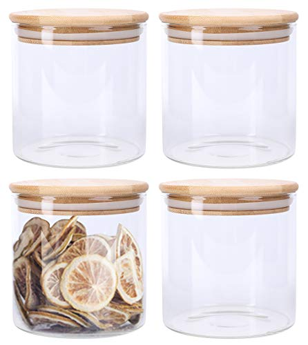Lawei 4 Stück Vorratsdosen Glas Vorratsgläser Luftdicht Glasbehälter mit Bambus Deckel für Küche Lagerung Behälter Tee Kaffee Gewürz Süßigkeiten - 550ml