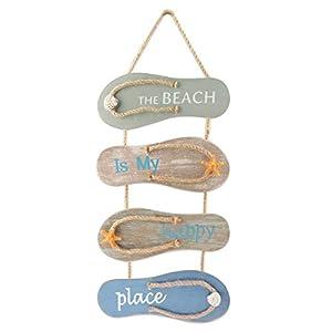 YiYa Playa náutica Flip Flop Decoración Flip Flop Adorno de pared Colgante Zapatillas de madera Decoración, Decoración de pared Adorno colgante de puerta Tema de playa Decoración del hogar, Gris, Azul
