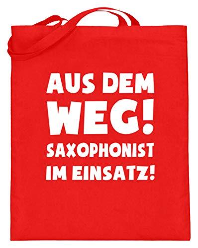 shirt-o-magic Saxophon: Saxophonist im Einsatz! - Jutebeutel (mit langen Henkeln) -38cm-42cm-Rubinrot