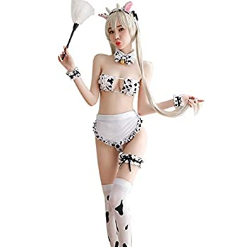 KINCOSONE Sexy Cow Cosplay Costume Kawaii Outfit Anime Mini Milk Bikini Lingerie Set for Women  Maid Lingerie