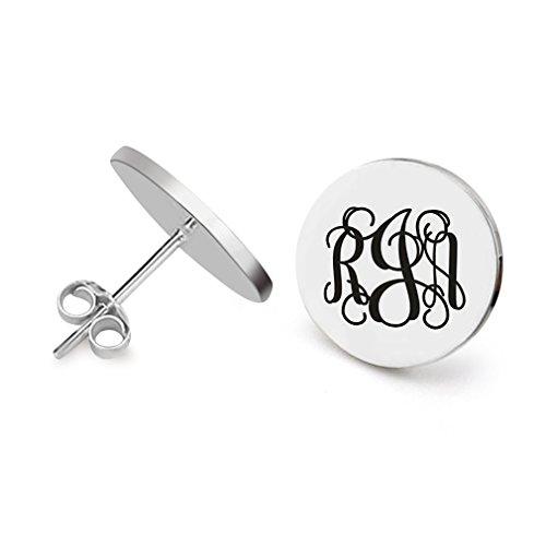 Monogram Earring Stud Alphabet Engraved Name Letter Initial Letter Stainless Steel Earring for Girls Womens (3 Interlocking monogram)