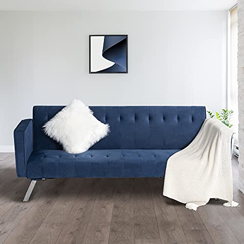"""GOOD & GRACIOUS Velvet Couch Bed Convertible Loveseat Futon Sofa Sleeper Mid Century Modern Living Room Sofa Bed for Small Space Bedroom, Blue, 70.85""""x 29.2""""x 34.25"""""""