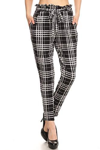 ShoSho Womens Solid Color Loose Fit Semi Harem Pants Casual Bottoms Skinny Self Tie Paper Bag Waist Plaid Black/Grey Medium