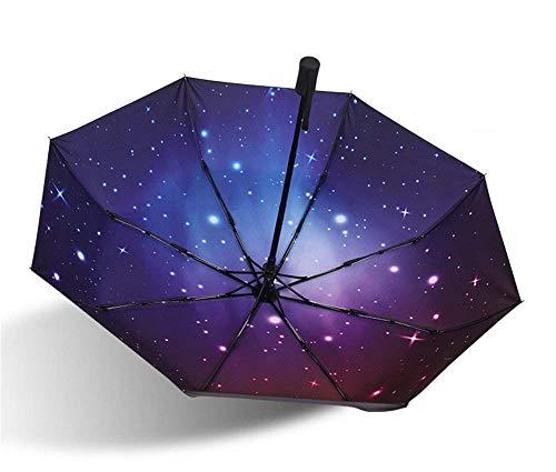 YNHNI Paraguas, Paraguas automático, Paraguas de Cielo Estrellado, Paraguas de Sol Plegable, Paraguas al Aire Libre de Verano de protección Solar, Paraguas de Regalo,Portátil (Color : B)