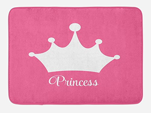 Lunarable Princess Bath Mat, White Crown on Pink Backdrop Tiara Graphic Princess Word Stylized Lettering Print, Plush Bathroom Decor Mat with Non Slip Backing, 29.5 W X 17.5 W Inches, Pink White