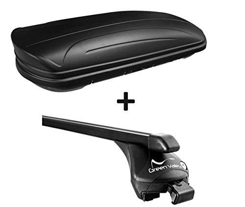 VDP Dachbox schwarz matt MAA320M günstiger Auto Dachkoffer 320 Liter abschließbar + Relingträger Dachgepäckträger aufliegende Reling im Set kompatibel mit Renault Kadjar ab 2015 bis