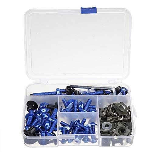 LUZIWEN 177pcs Motorrad Verkleidung Bumpers Panel-Schrauben Kit Körper Fastener Clips Screw Set Universal (Color : Blue)
