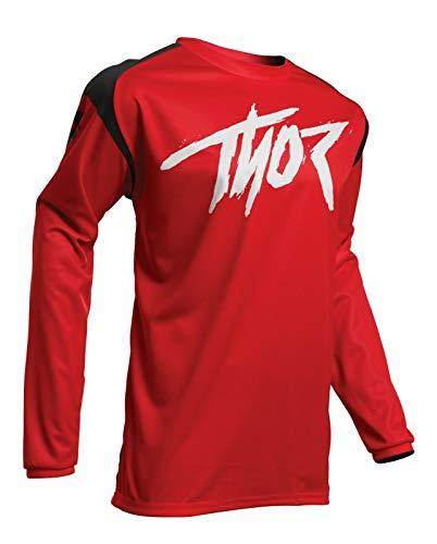 Thor MX Erwachsene Trikot Rot Schwarz Sector Link Motocross Enduro Offroad Kleidung Neu für 2020 Raglan Motorrad Trikot S rot