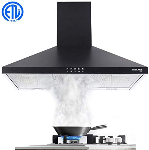 30' Range Hood, GASLAND Chef PR30BP Black Wall Mount Range Hood 30 Inch, 3 Speed 450 CFM Ducted Exhaust Hood Fan, Push Button Control, Convertible Chimney-style, Dual LED Lights, Aluminum Mesh Filter