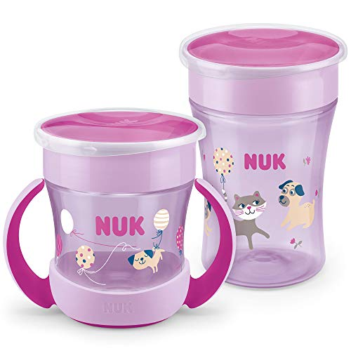 NUK Magic Cup Trinklernbecher Duo Set | Magic Cup 230ml + Mini Magic Cup 160ml mit Ergonomische Griffe | auslaufsicher 360° Trinkrand | BPA-frei | 6+ Monate | Hund (lila)