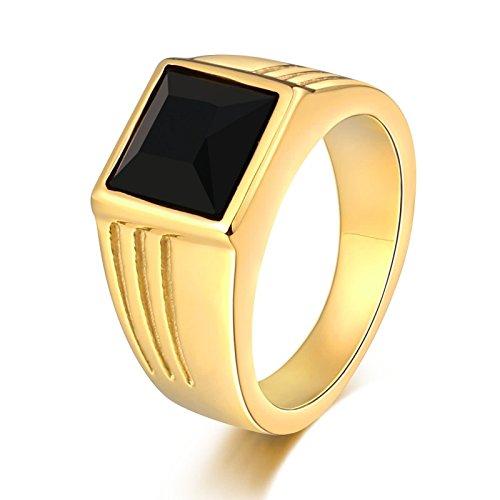 Aidsaer Goldring Ring Männer Türkei Schwarz Schwarzem Zirkonia Quadratbreite 10 Mm Ringgröße 60 (19.1) Verlobung,Promise You, Ring Für Vater
