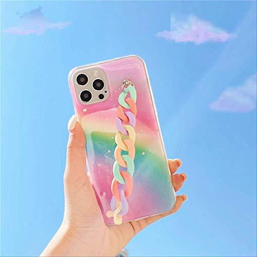Rainbow Glitter Funda de Silicona con Cadena de muñeca acrílica para iPhone 12 Pro MAX Mini 11 Pro MAX XR X XS 7 8 Plus Se 2020 Funda para iPhone 6 6s B