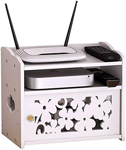 Box Router Förvaringsbox WiFi Router Fäste Set-top Flytande väggmonterad hylla Hem- och kontors WiFi Router Justerbar kabelbox (Co