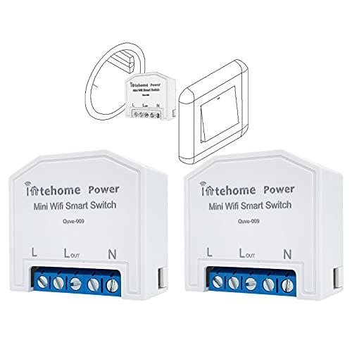 INTEHOME POWER Smart Home 16A Wlan Schalter, Stromzähler WiFi Lichtschalter, Kompatibel mit Alexa Google Home (2er Pack, APP Smart Life)