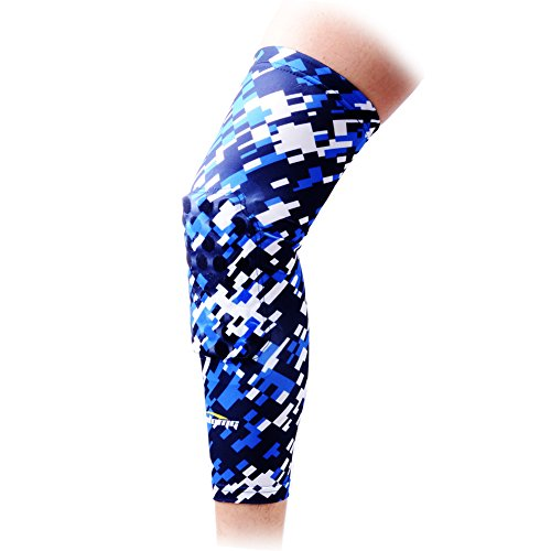 COOLOMG 1 Piece Basketball Knee Pads for Kids Youth Adult Long Leg Knee Sleeves EVA Protector Gear Digital Camo Blue Navy Medium(70-105LBS)