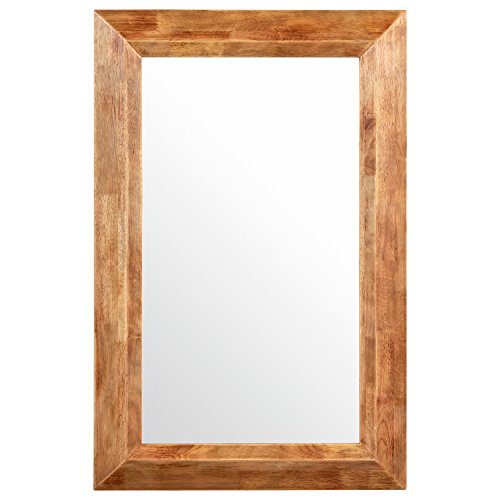 Amazon Brand – Stone & Beam Rustic Wood Frame Hanging Wall Mirror, 39.75 Inch Height, Natural