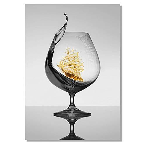 Canvas Wall Art Moderne Zwarte Wijnglas met Boot Kunst Canvas Schilderij Foto's Posters Galerij Eetkamer Huisdecoratie - 60x80cm Geen Frame
