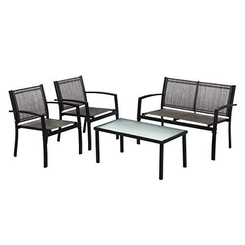 IntimaTe WM Heart Conjunto Muebles de Jardín Cafetería Sofá Exterior en Poly Ratán con Conjín, Ideal para Balcón y Terraza (Estilo Simple)
