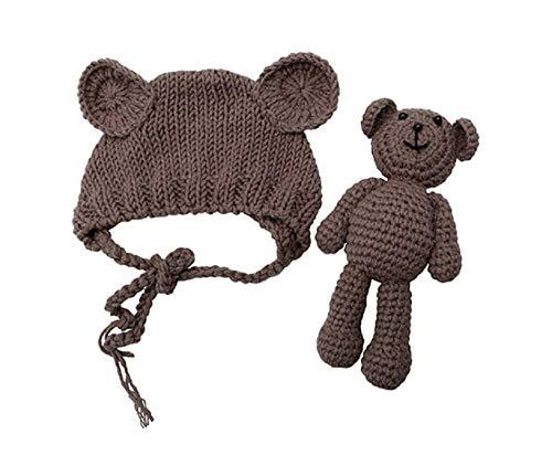 Matissa Disfraz de Crochet para bebé recién Nacido Fotografía Apuntalar Bebé Conjunto de Sombrero y muñeca de Oso (marrón)