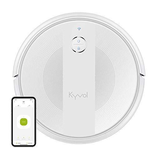 KYVOL Aspirateur Robot 2000Pa, 150Mins Autonomie, 600ML Capacité, Silencieux, Mince, Wi-Fi & App & Alexa, Carpet Boost, Barrières Virtuelles, pour Tapis, Sol Dur, Poil Animaux, Blanc