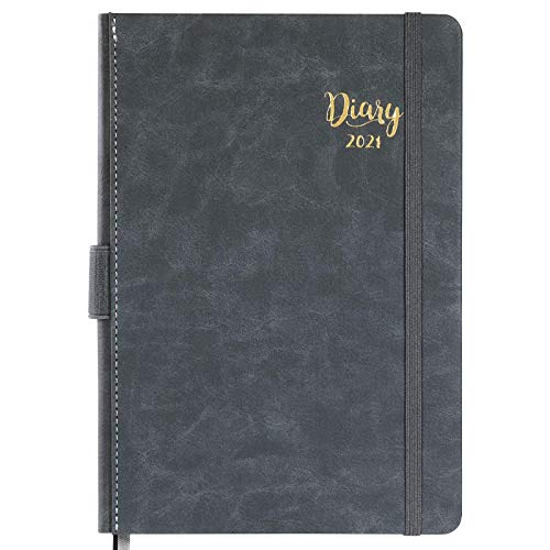 2021 Diary A5 Page a Day - Daily Planner 2021, Day to Page, Jan 2021 - Dec 2021, Leather Hardcover with Monthly Tabs&Inner Pocket, 14.8cm×21.4cm-Grey