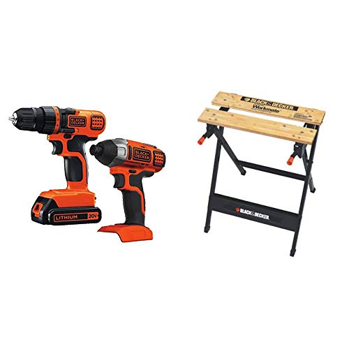 BLACK+DECKER 20V MAX Cordless Drill Combo Kit, 2-Tool with Workmate Portable Workbench, 350-Pound Capacity (BD2KITCDDI & WM125)