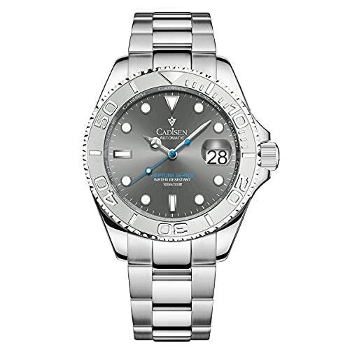 CADISEN Reloj automático para hombre NH35, cristal de zafiro, resistente al agua, gris, 40mm,