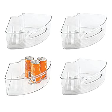 mDesign Kitchen Cabinet Lazy Susan Storage Organizer Bin with Front Handle - Small Pie-Shaped 1/4 Wedge, 4  Deep Container – Food Safe, BPA Free - Pack of 4, Clear