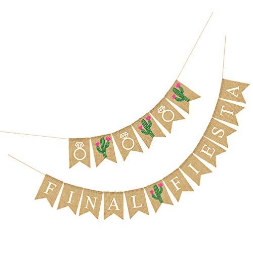 SOIMISS Mexican Final Fiesta Banner Fiesta Theme Party Linen Swallowtail Garland Bachelorette Party Decorations Supplies Cactus Pattern Garland Wedding Party Supplies