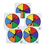 Learning Advantage Six-Color Spinners - Set of 5 - Game Spinner – Write On/Wipe Off Surface for Multiple Uses