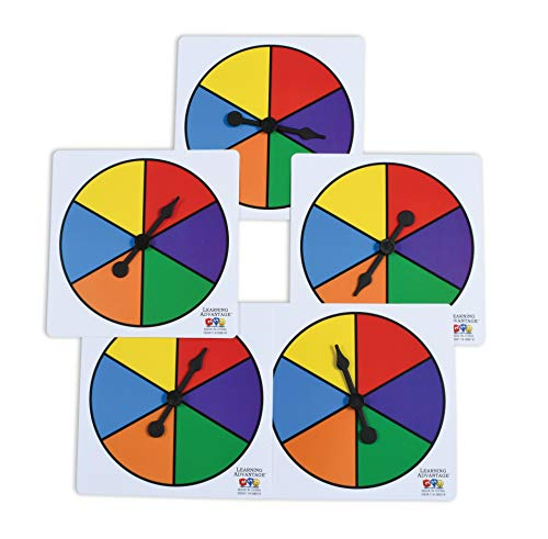 LEARNING ADVANTAGE  7354 Learning Advantage SixColor Spinners  Set of 5  Game Spinner – Write On/Wipe Off Surface for Multiple Uses