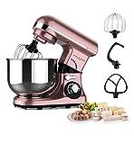 Küchenmaschine Roségold 600W,Teflon beschichtete Haken,kneten,mixen,schneebesen,4L Edelstahlschüssel,7 Geschwindigkeiten mit LED Anzeige,Knetmaschine,Mixer Küchenmaschine,Teigmaschine,Standmixer
