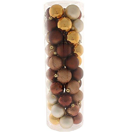 WeRChristmas - Set Di Decorazioni Natalizie, 50 Palline, In Plastica Infrangibile Marrone / Cioccolato / Caffè / Champagne