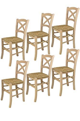 Tommychairs - Set 6 sillas Cross para cocina y comedor, estructura en madera de haya lijada, no tratada, 100% natural y asiento en paja