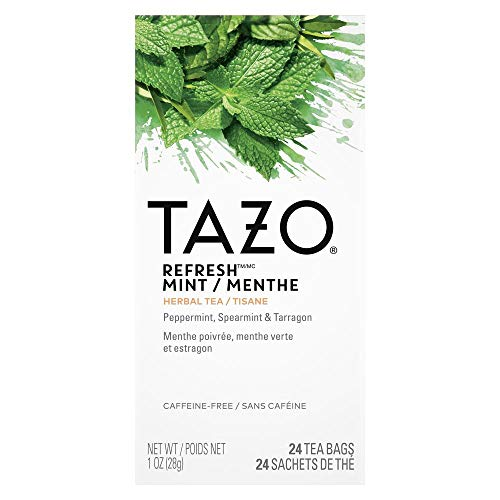 TAZO Refresh Mint Enveloped Hot Tea Bags Herbal, Caffeine Free, Non GMO, 24 Count, Pack of 6