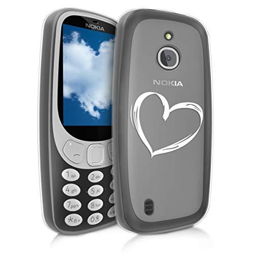 kwmobile Nokia 3310 3G 2017 / 4G 2018 Cover - Custodia in Silicone TPU per Nokia 3310 3G 2017 / 4G 2018 - Backcover Cellulare Bianco/Trasparente