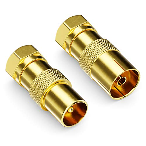 deleyCON 2X SAT Kabel Adapter als Set - F-Stecker auf 1x Antennenstecker & 1x Antennenbuchse Koax Antenne Verbinder Kupplung für Koaxialkabel Antennenkabel