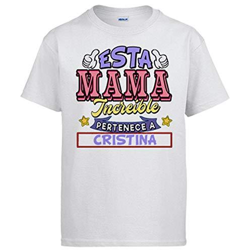 Camiseta Personalizable con Nombre Ejemplo Esta mamá increíble Pertenece a Pablo y Carlos - Blanco, S