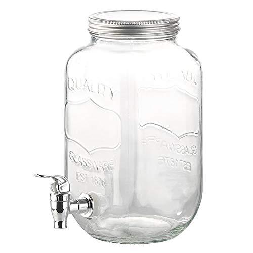Monsterzeug XXL-Getränkespender, Vintage Wasserspender mit Zapfhahn, Glasbehälter mit Zapfhahn, Glas, 3,5 Liter