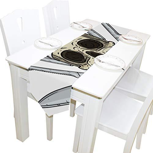 Yushg Cartoon Schädel Toque Messer Kommode Schal Tuch Abdeckung Tischläufer Tischdecke Tischset Küche Esszimmer Wohnzimmer Hause Hochzeitsbankett Decor Indoor 13x90 Zoll