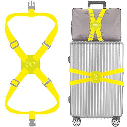 ZINZ Correas para Equipaje Altamente Elástica, Cinturones de la Maleta, Accesorios de Viaje con Hebillas, Ultra Larga,Amarillo