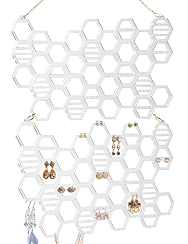 2-Pack Honeycomb Earring Holder, Acrylic Earring Organizer, Wall Mount Earring Holder for Studs, Dangling Earrings and Necklace (Clear)