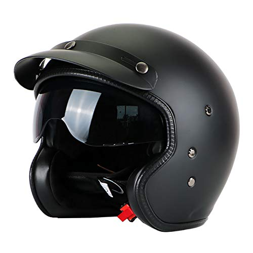 Vintage Harley Open Face Motorcycle Helmet with Goggles, High Hardness FRP Removable Lining Breathable Four Seasons for Youth Adults Men & Women Retro Half Helmet M-3XL (53-64cm),Matteblack,M