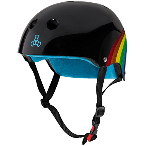Find Discount Triple Eight THE Certified Sweatsaver Helmet for Skateboarding, BMX, and Roller Skating, Rainbow Sparkle Black, Large / X-Large
