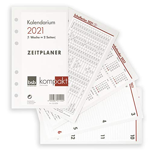bsb Kalendarium 2021 1Wo.=2Seiten handelsübliche Lochung 9,5x16,9 A6 02-0058