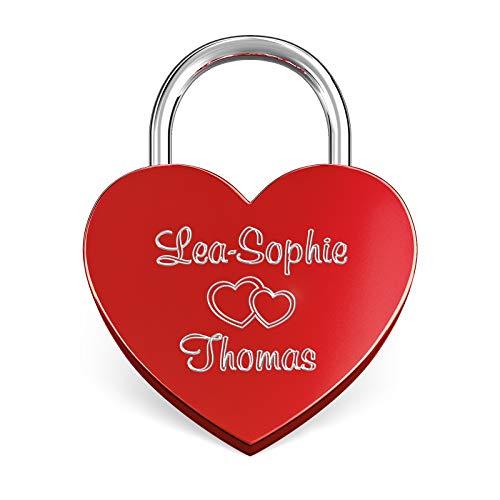 LIEBESSCHLOSS-FACTORY Herz-Schloss Rot mit Gravur und Schlüssel, gratis Geschenkbox uvm. Jetzt graviertes Liebes-Schloss in Herzform gestalten!