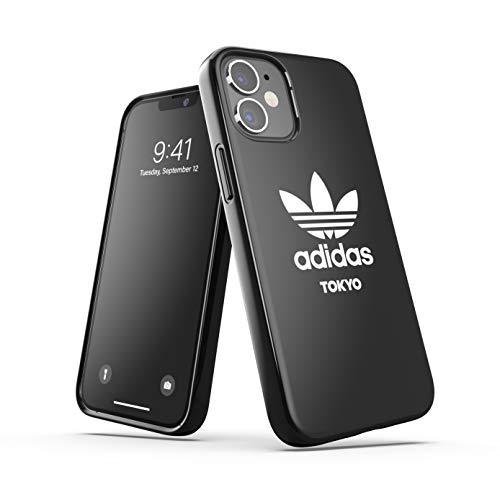 adidas Funda diseñada para iPhone 12 Mini de 5,4 Pulgadas, Fundas a Prueba de caídas, Bordes elevados, Carcasa Original Tokyo Snap Case Cover Negro Blanco Logo