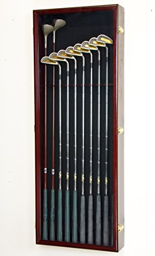 Large Golf Clubs Driver Iron Putter Display Case Rack Cabinet w/98% UV Door – Lockable, Cherry