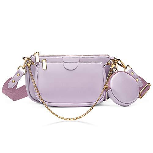 YALUXE Mehrzweck Umhängetasche Damen Multi Geldbörse PU Leder Reißverschluss Mode Handtaschen mit Münzbeutel Helllila
